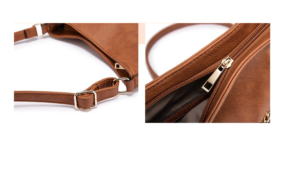 Long Strap Crossbody Leather Shoulder Bag (TWH05)