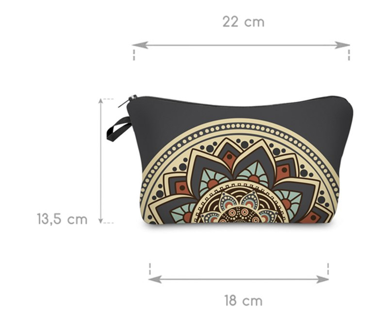 Grey Floral Cosmetic Toiletry Make - Up Bag for Women
