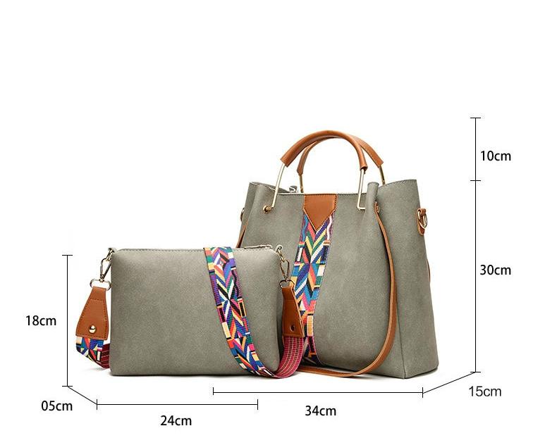 Suede Handbag with Colorful Strap 2pc Ladies Crossbody Bag TWH 16