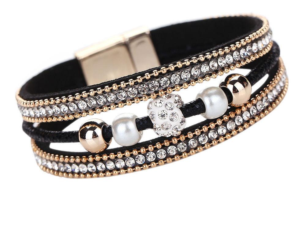 Women's Rhinestone Bangle Bracelet With a Magnetic Clasp Length 20 cm * 2 cm