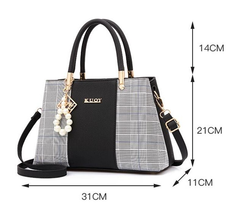 Women's Plaid Stylish Shoulder Handbag ( TWH 26 )